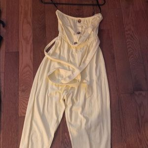 Yellow strapless jumpsuit
